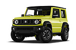 Stock pictures of low aggressive front three quarter view of 2019 Suzuki Jimny GLX 5 Door SUV Low Aggressive
