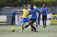 Georgios Aresti of Haringey and Jordan Johnson-Palmer of Herne Bay during Haringey Borough vs Herne Bay, Emirates FA Cup Football at Coles Park Stadium on 7th September 2019