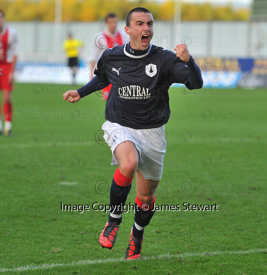 30/10/2010   Copyright  Pic : James Stewart.sct_jsp024_falkirk_v_dundee  .:: MARK MILLER CELEBRATES AFTER HE SCORES FROM THE SPOT :: .James Stewart Photography 19 Carronlea Drive, Falkirk. FK2 8DN      Vat Reg No. 607 6932 25.Telephone      : +44 (0)1324 570291 .Mobile              : +44 (0)7721 416997.E-mail  :  jim@jspa.co.uk.If you require further information then contact Jim Stewart on any of the numbers above.........