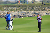 Subhankar Sharma (IND) during the second round of the NBO Open played at Al Mouj Golf, Muscat, Sultanate of Oman. <br /> 16/02/2018.<br /> Picture: Golffile | Phil Inglis<br /> <br /> <br /> All photo usage must carry mandatory copyright credit (&copy; Golffile | Phil Inglis)