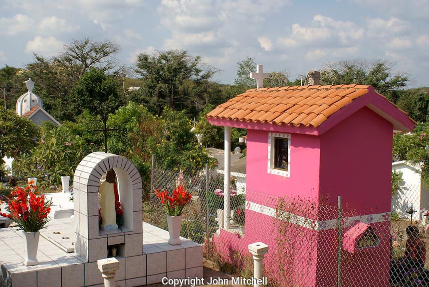 Colorful mausoleums in the town cemetery, El Quelite near  Mazatlan, Sinaloa, Mexico