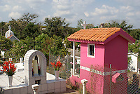 Colorful mausoleums in the town cemetery, El Quelite near  Mazatlan, Sinaloa, Mexico