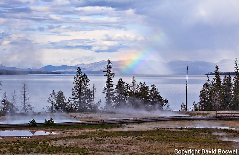 A rainbow over Yellowstone Lake taken from the West Thumb Geyser Basin