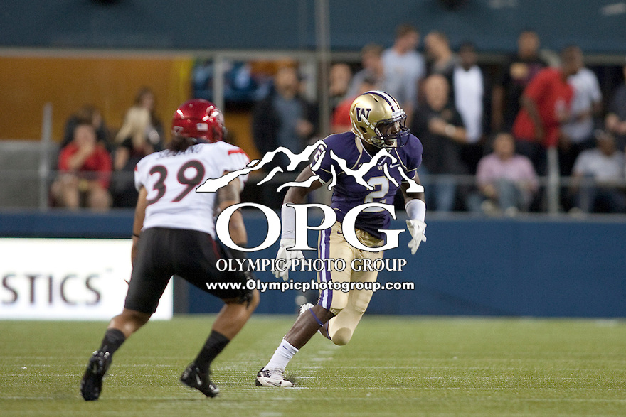 Sept 01, 2012:  Washington's #2 Kasen Williams against San Diego State.  Washington defeated San Diego State 21-12 at CenturyLink Field in Seattle, Washington...