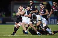 Sam Hill of Exeter Chiefs is tackled in possession. Aviva Premiership match, between Saracens and Exeter Chiefs on November 26, 2017 at Allianz Park in London, England. Photo by: Patrick Khachfe / JMP