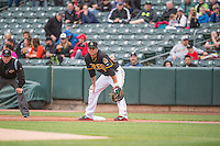 Grant Green (7) of the Salt Lake Bees on defense against the Colorado Springs Sky Sox in Pacific Coast League action at Smith's Ballpark on May 22, 2015 in Salt Lake City, Utah.  (Stephen Smith/Four Seam Images)