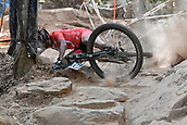9th September 2017, Smithfield Forest, Cairns, Australia; UCI Mountain Bike World Championships; Tsalina Yi-Lin Phang (SIN) falls in the Jacobs Ladder section during the elite womens cross country race