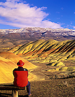 Viewer looking at Painted Hills. John Day Fossil Beds National Monument, Oregon