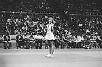 Chris Evert in a tennis match at the Nassau Veterans Memorial Coliseum, Uniondale, NY.  Photo by Jim Peppler. Copyright/Jim Peppler/.
