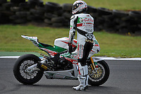 PHILLIP ISLAND, 27 FEBRUARY - Ruben Xaus (ESP) on the Honda CBR1000RR (111) of the Castrol Honda Team restarts his bike after race one of round one of the 2011 FIM Superbike World Championship at Phillip Island, Australia. (Photo Sydney Low / syd-low.com)