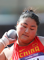 06.08.2012. London, England.  Liu Xiangrong of China  competes in the  womens Shot Put Qualification  London 2012 Olympic Games