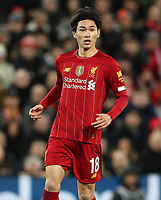 5th January 2020; Anfield, Liverpool, Merseyside, England; English FA Cup Football, Liverpool versus Everton; Takumi Minamino of Liverpool during his debut appearance  - Strictly Editorial Use Only. No use with unauthorized audio, video, data, fixture lists, club/league logos or 'live' services. Online in-match use limited to 120 images, no video emulation. No use in betting, games or single club/league/player publications