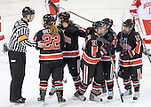 Chris Leavitt, Maggie Brennolt (NU - 22), Stephanie Gavronsky (NU - 44), Sonia St. Martin (NU - 12), Claire Santostefano (NU - 13), Rachel Llanes (NU - 11) - The Northeastern University Huskies tied Boston University Terriers 3-3 in the 2011 Beanpot consolation game on Tuesday, February 15, 2011, at Conte Forum in Chestnut Hill, Massachusetts.