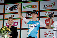 race winner Krist Neilands (LAT/Israel Cycling Academy) on the podium<br /> <br /> 60th Grand Prix de Wallonie 2019<br /> 1 day race from Blegny to Citadelle de Namur (BEL / 206km)<br /> <br /> ©kramon