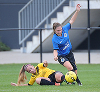 20161029 - ZWEVEZELE , BELGIUM : Zwevezele's Silke Willem (L) and Club Brugge's Larissa Van Hulle (R)  pictured during a soccer match between the women teams of KSK Zwevezele and Club Brugge  , during the seventh matchday in the 2016-2017  Tweede klasse - Second Division season, Saturday 29 October 2016 . PHOTO SPORTPIX.BE | DIRK VUYLSTEKE