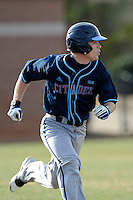 Center fielder Hughston Armstrong (31) of the Citadel runs out a hit in a game against the University of South Carolina Upstate Spartans on Tuesday, February, 18, 2014, at Cleveland S. Harley Park in Spartanburg, South Carolina. Upstate won, 6-2. (Tom Priddy/Four Seam Images)