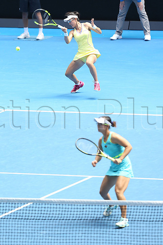 25.01.2016. Melbourne Park, Melbourne, Australia.  Chinas Xu Yifan and Zheng Saisai compete against Hsieh Su-Wei of Chinese Taipei and Georgia s Oksana Kalashnikova during the third round match of womens doubles at the Australian Open Tennis Championships in Melbourne, Australia, Jan. 25, 2016. Xu Yifan and Zheng Saisai won the match 6-2, 6-4.