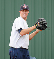 Pitcher David Hurlbut (45) of the Elizabethton Twins, Appalachian League affiliate of the Minnesota Twins, prior to a game against the Bristol White Sox on August 18, 2011, at Joe O'Brien Field in Elizabethton, Tennessee. Elizabethton defeated Bristol, 13-3. (Tom Priddy/Four Seam Images)