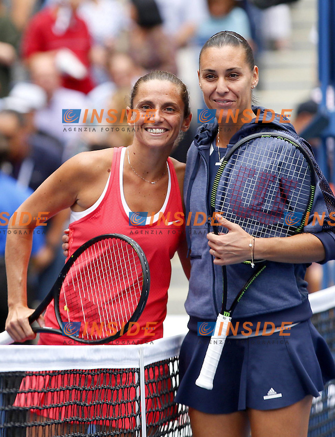 Flavia Pennetta and Roberto Vinci of Italy stand together at the net at the US Open, Flushing, New York, 2015 / US Open Tennis Championships 2015 Day Thirteen Flushing Meadows US Open, New York, United States 12 September 2015<br /> Flushing Meadows 12/9/2015 <br /> Tennis US Open Finale donne tra Flavia Pennetta e Roberta Vinci <br /> Flavia Pennetta vince gli US Open <br /> Foto Imago / Insidefoto<br /> ITALY ONLY