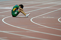 07.09.2012 London, England. Olympic Stadium. Yohansson Nascimento of Brazil reacts AT The Finish Line during the men s 100m T46 Final AT The London 2012 Paralympics Games in London