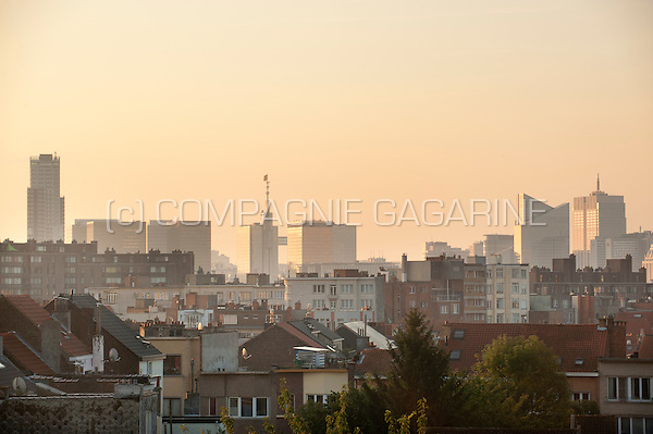 Panoramic view over the Brussels skyline with the Belgacom towers and the UP-site tower (Belgium, 21/08/2014)