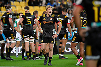 Chiefs' Damian McKenzie in action during the Super Rugby - Hurricanes v Chiefs at Westpac Stadium, Wellington, New Zealand on Friday 13 April 2018.<br /> Photo by Masanori Udagawa. <br /> www.photowellington.photoshelter.com
