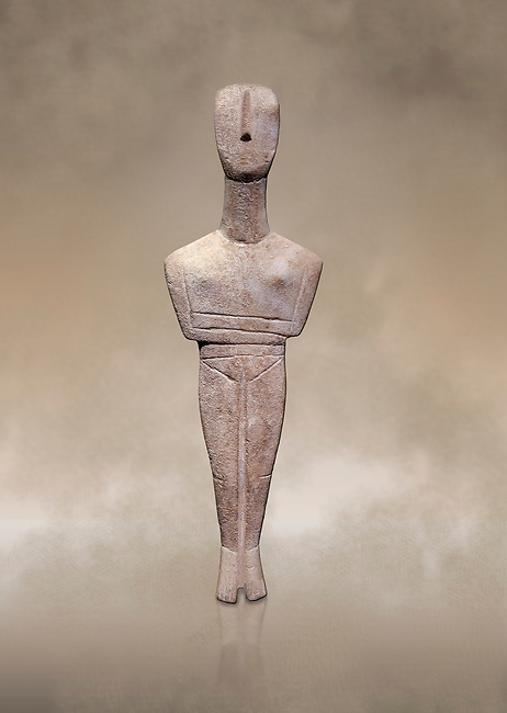Ancient Greek Cycladic female figurine of the canonical type, Dokathismata and Spedos variety, Early Cycladic period II, Syros phase, 2800-2300 BC, Museum of Cycladic Art, Athens.<br /> <br /> Considered to be an intermediate or transitional form between the Dokathismata and Spedos varieties/