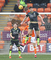 Blackpool's Sean Longstaff jumps with  Bristol Rovers' Ryan Sweeney<br /> <br /> Photographer Mick Walker/CameraSport<br /> <br /> The EFL Sky Bet League One - Blackpool v Bristol Rovers - Saturday 13th January 2018 - Bloomfield Road - Blackpool<br /> <br /> World Copyright &copy; 2018 CameraSport. All rights reserved. 43 Linden Ave. Countesthorpe. Leicester. England. LE8 5PG - Tel: +44 (0) 116 277 4147 - admin@camerasport.com - www.camerasport.com
