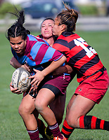 Action from the Wellington women's premier club rugby match between Poneke and Avalon at Kilbirnie Park in Wellington, New Zealand on Saturday, 21 July 2018. Photo: Dave Lintott / lintottphoto.co.nz