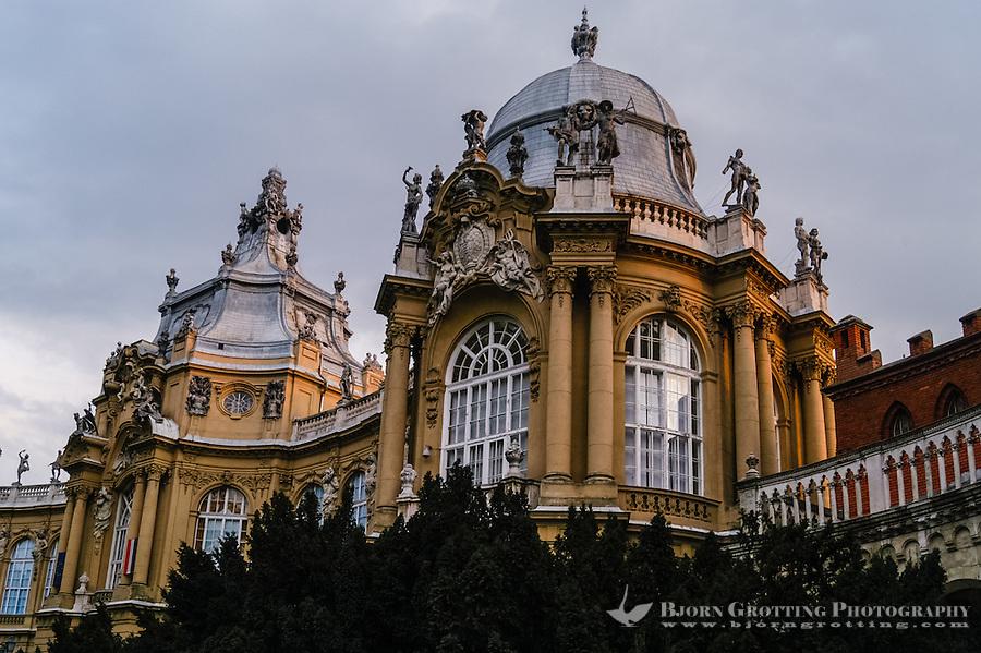 Budapest, Hungary.  Varosliget Park, Vajdahunyad Castle.