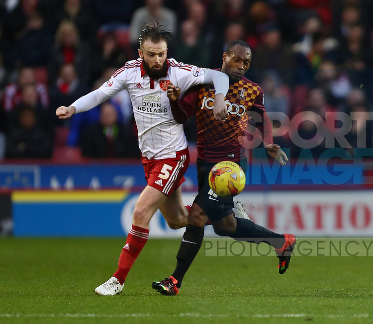 Sheffield United's Josh Brayford battles Luis Gustavo of Brazil - Sheffield United vs Bradford City - Skybet League One - Bramall Lane - Sheffield - 28/12/2015 Pic Philip Oldham/SportImage