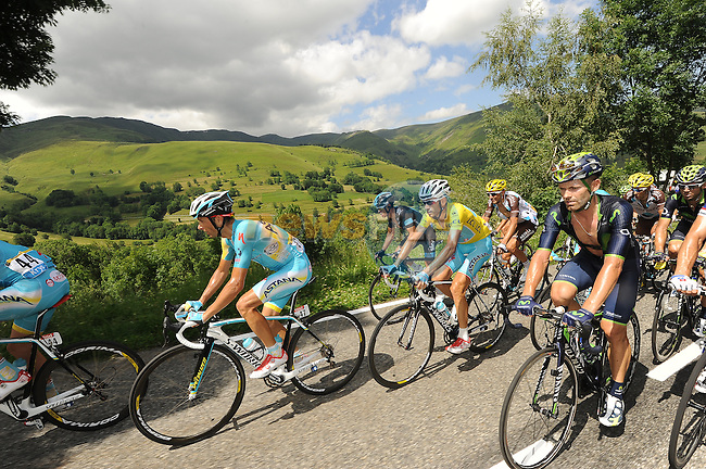 Astana with Yellow Jersey leader Vincenzo Nibali (ITA) at the front of the peloton during Stage 17 of the 2014 Tour de France running 124.5km from Saint-Gaudens to Saint-Lary Pla d'Adet. 23rd July 2014.<br /> Photo ASO/B.Bade/www.newsfile.ie