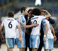Europa League quarter-final 1st leg <br /> S.S. Lazio - FC Salzburg  Olympic Stadium Rome, April 5, 2018.<br /> Lazio's Ciro Immobile celebrates after scoring with his teammates and his coach Simone Inzaghi during the Europa League match between Lazio and Salzburg at Rome's Olympic stadium, April 5, 2018.<br /> UPDATE IMAGES PRESS/Isabella Bonotto