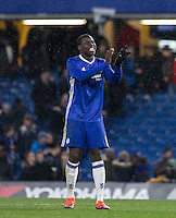 Kurt Zouma of Chelsea is all smiles on his return to Stamford Bridge during the The Checkatrade Trophy match between Chelsea U23 and Oxford United at Stamford Bridge, London, England on 8 November 2016. Photo by Andy Rowland.