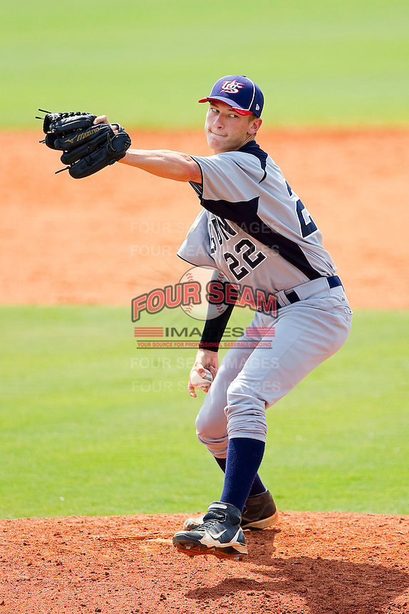 Nathan Griep #22 of American Legion in action against NABF at the 2011 Tournament of Stars at the USA Baseball National Training Center on June 26, 2011 in Cary, North Carolina.  NABF defeated American Legion 5-0. (Brian Westerholt/Four Seam Images)