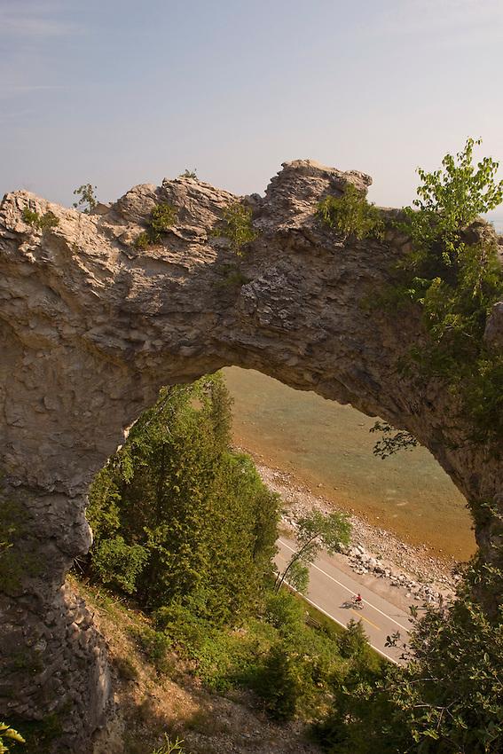 The Arch Rock limestone formation on Mackinac Island in Michigan.