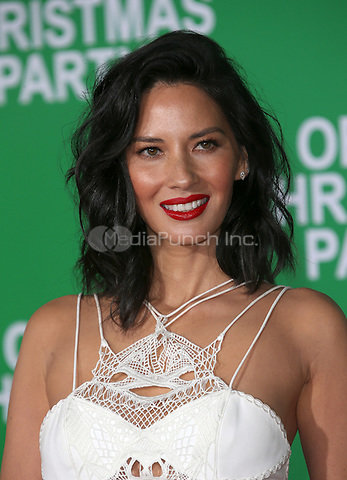 """Westwood, CA - DECEMBER 07: Olivia Munn, At Premiere Of Paramount Pictures' """"Office Christmas Party"""" At Regency Village Theatre, California on December 07, 2016. Credit: Faye Sadou/MediaPunch"""