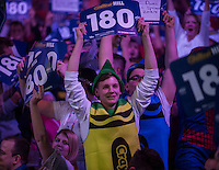 30.12.2014.  London, England.  William Hill PDC World Darts Championship.  Darts fans at the 2015 William Hill World Darts Championship.