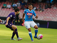 Napoli's Faouzi Ghoulan     in action during the Italian Serie A soccer match between SSC Napoli and AC Fiorentina  at San Paolo stadium in Naples,October 18, 2015