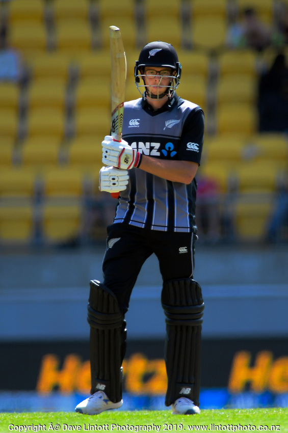 NZ's Mitchell Santner. Twenty20 International cricket match between NZ Black Caps and England at Westpac Stadium in Wellington, New Zealand on Sunday, 3 November 2019. Photo: Dave Lintott / lintottphoto.co.nz