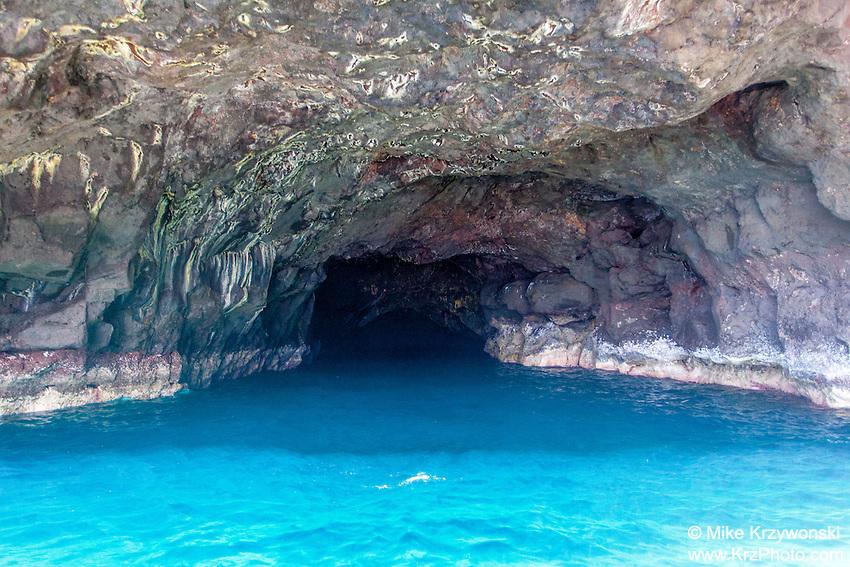 Open Ceiling Sea Cave on Na Pali Coast, Kauai