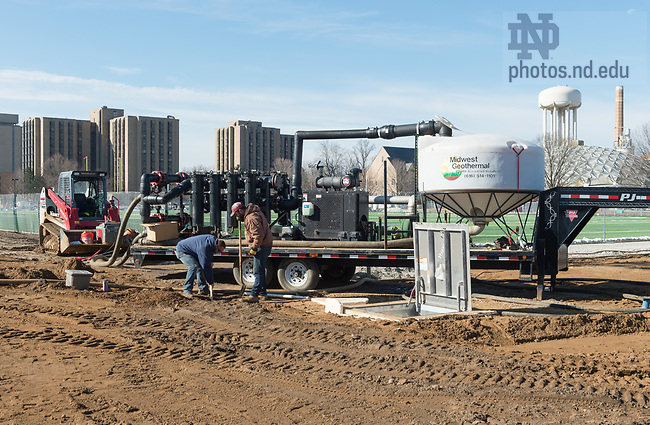 March 21, 2017; Ricci Field construction.  (Photo by Barbara Johnston/University of Notre Dame)