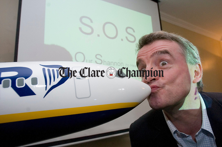 Ryanair CEO Michael O Leary pictured at his press conference in Shannon. Photograph by John Kelly.