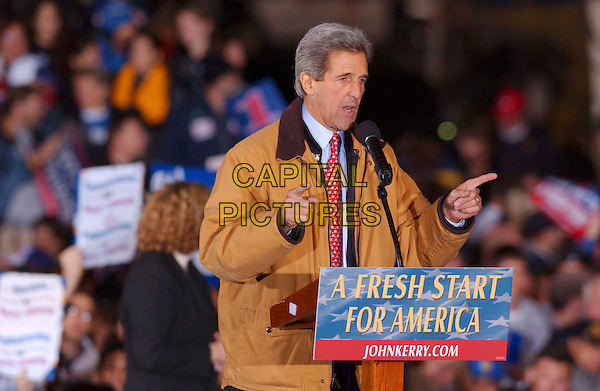 JOHN KERRY .Presidential Candidate during an election eve rally held near Cleveland City Hall, Cleveland, Ohio, USA, 1st November 2004..half length crowd  speaking speech.**UK SALES ONLY**.Ref: ADM.www.capitalpictures.com.sales@capitalpictures.com.©Capital Pictures.