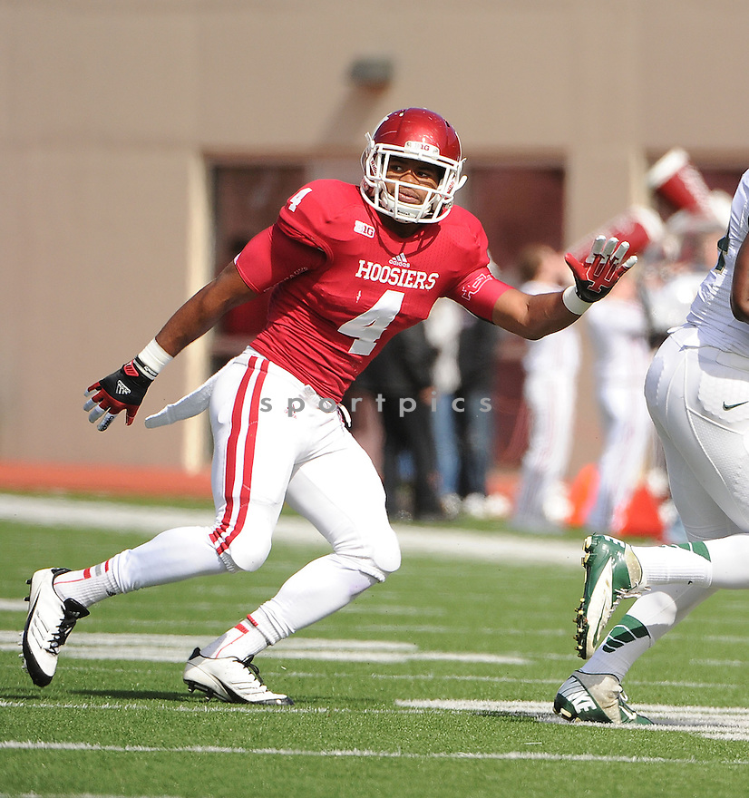 Indiana Hoosiers Forisse Hardin (4) in action during a game against Michigan State on October 6, 2012 at Memorial Stadium in Bloomington, IN. Michigan State beat Indiana 31-27.