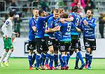Stockholm 2015-05-30 Fotboll Allsvenskan Hammarby IF - Halmstads BK :  <br /> Halmstads  Christoffer Andersson gratuleras av lagkamrater efter sitt 1-1 m&aring;l under matchen mellan Hammarby IF och Halmstads BK <br /> (Foto: Kenta J&ouml;nsson) Nyckelord:  Fotboll Allsvenskan Tele2 Arena Hammarby HIF Bajen Halmstad Halmstads BK HBK jubel gl&auml;dje lycka glad happy