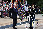 United States President Donald J. Trump participates in a wreath-laying ceremony at the Tomb of the Unknown Soldier at Arlington National Cemetery in Arlington, Virginia on Memorial Day, May 29, 2017 in Arlington, Virginia.<br /> Credit: Olivier Douliery / Pool via CNP