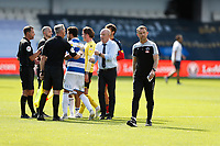 18th July 2020; The Kiyan Prince Foundation Stadium, London, England; English Championship Football, Queen Park Rangers versus Millwall;  A very angry Millwall Manager Gary Rowett walking away from Referee James Linington after arguing with Referee James Linington after he ruled Shaun Hutchinson of Millwall goal to be disallowed just before full time