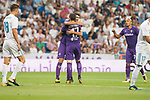 Fiorentina's Gil Dias and Jordan Veretout celebrating a goal during XXXVIII Santiago Bernabeu Trophy at Santiago Bernabeu Stadium in Madrid, Spain August 23, 2017. (ALTERPHOTOS/Borja B.Hojas)