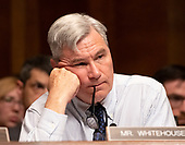 """United States Senator Sheldon Whitehouse (Democrat of Rhode Island) questions US Attorney General William P. Barr as he testifies before the US Senate Committee on the Judiciary on the """"Department of Justice's Investigation of Russian Interference with the 2016 Presidential Election"""" on Capitol Hill in Washington, DC on May 1, 2019.  The hearing will begin to answer questions about how the DOJ handled the conclusions from the Mueller probe.<br /> Credit: Ron Sachs / CNP<br /> (RESTRICTION: NO New York or New Jersey Newspapers or newspapers within a 75 mile radius of New York City)"""